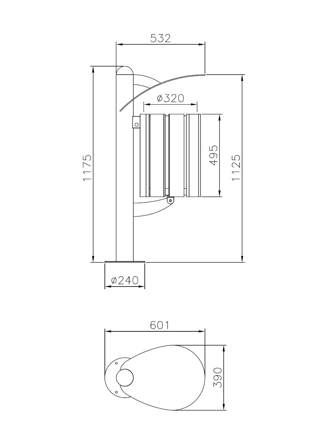 Mülleimer Basket Holz Skizze
