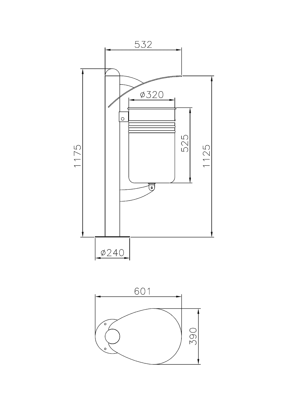 Mülleimer Basket Stahl Skizze