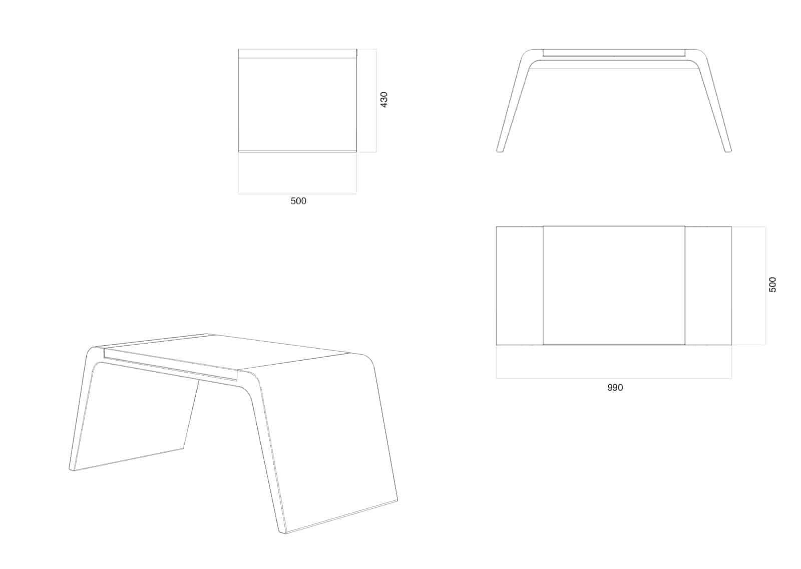 Stuhl Leather ohne Rückenlehne Skizze