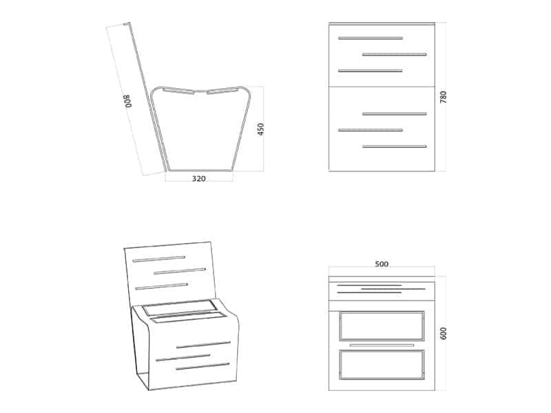 Stuhl Mac mit Rückenlehne Skizze