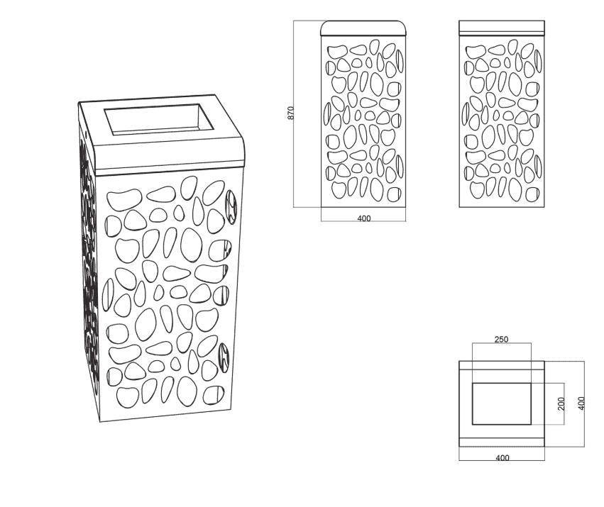 Mülleimer Claps Skizze